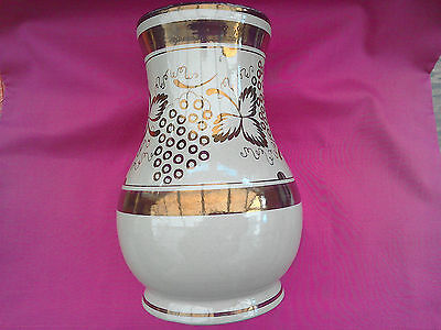 """A large Gray's hand painted vase. 8.25 """" Unusual leaf pattern; bronze lustre."""