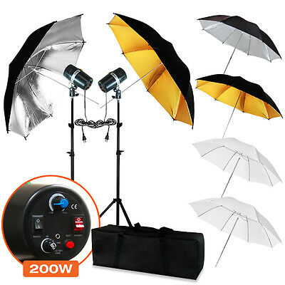 "Studio Photo 6 x 33"" Umbrella Softbox 2 x Flash Strobe Lighting Studio Light Kit"