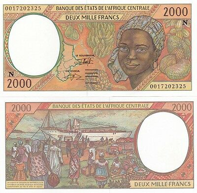 Central African St. Africa E. Guinea - 2000 Francs 2000 UNC letter N Lemberg-Zp