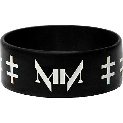 Marilyn Manson Men's Crosses Rubber Bracelet Black