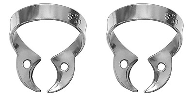"""2 pc Rubber Dam Clamp with a rigid curved """"jaws"""" without wings (W56)"""