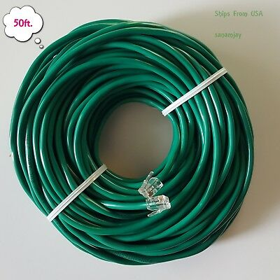 50ft. RJ11 RJ12 CAT5e Green DSL Telephone Data Cable For Centurylink, AT&T, etc