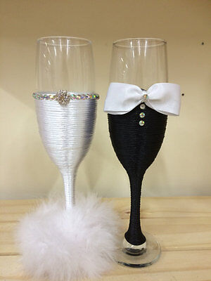 Mr & Mrs glasses BRIDE and GROOM  Wedding Glasses Champagne Flutes Wedding gift