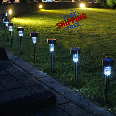 KEALIVE Solar Powered Path Lights 6-pack Stainless Steel Outdoor Garden LED