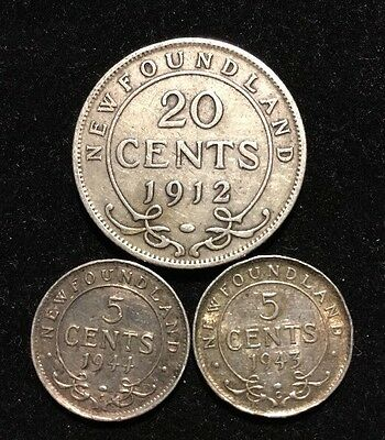 Canada New Foundland Silver Coin Lot 1912 20 Cents 1943, 1944 5 Cents