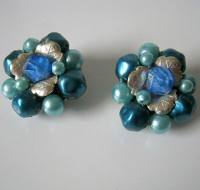 Vintage Blue Glass with Silver Leaf Cluster Clip On Earrings, Made in Hong Kong