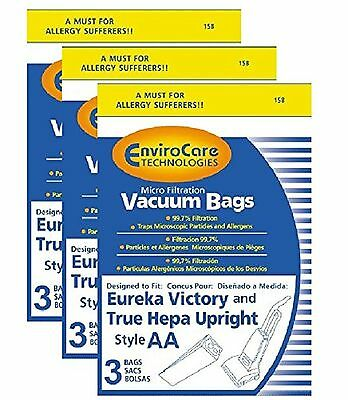 9 Eureka Victory and True Hepa Micro filtration  Upright Style AA  Vacuum Bags