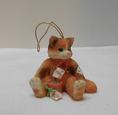 Cat Figurine Ornament Pot of Catnip Bow To My Cat 1995 Priscilla Hillman