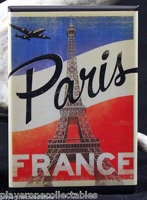 "Paris Vintage Travel Poster 2"" X 3"" Fridge / Locker Magnet. France Eiffel Tower"