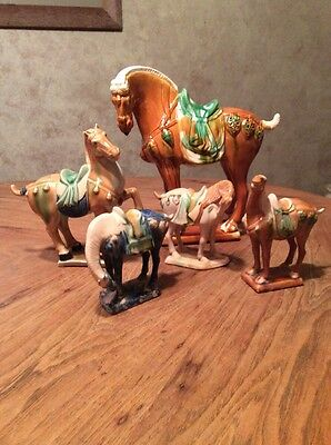 Tang Dynasty Style Horse Figurines. Five Horses. Glazed Ceramic.