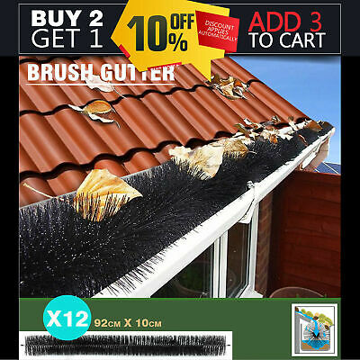 12 Pcs GUTTER BRUSH GUARD 100mm x 11M LENGTH - LEAF TWIGS HEAVY DUTY HOME GARDEN