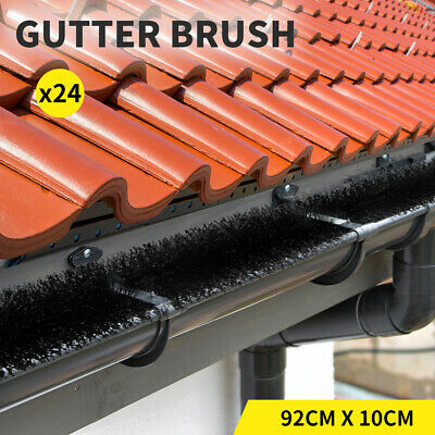HEAVY DUTY GUTTER BRUSH GUARD 100mm x 22M LENGTH - LEAF TWIGS 24 Pcs HOME GARDEN