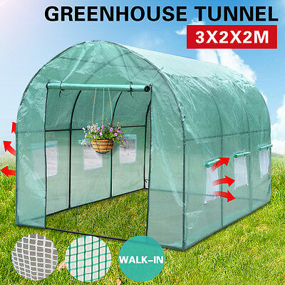 3X2X2M Walk In Greenhouse Green House Plant Shed PE Cover Arch Roof Tunnel