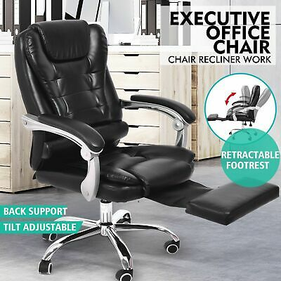Thick Padded Executive Computer Chair PU Leather Home Office Lumbar Support