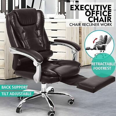 Executive Office Computer Chair Premium PU Leather Thick Padded Lumbar Support