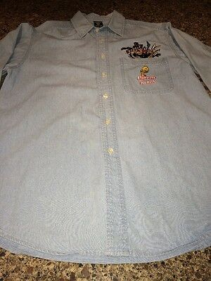 Vintage Warner Bros. 1990's Looney Tunes Jean Shirt Chambray Size Small