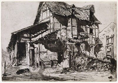 Framed Etching James A.M. Whistler The Unsafe Tenement 1858 American