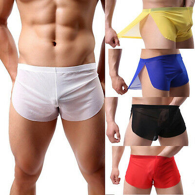 Mens Mesh See-thru Underwear Boxers Briefs Breathe Bulge Pouch Trunks Underpants
