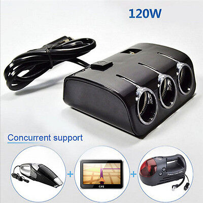 Black Car Cigarette/Cigar Lighter 1 to 3 way Splitter socket Extension Hub USB