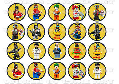LEGO BATMAN MOVIE 20 x 4.5cm PREMIUM REAL EDIBLE ICING CUPCAKE TOPPERS