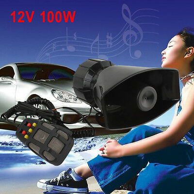 100W 7 Sound Loud Car Warning Alarm Police Fire Siren Horn Speaker w/ MIC System