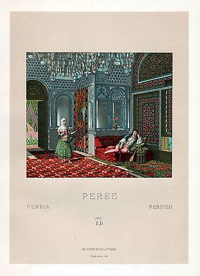 1880 - Persia Persien Iran Haus house Salon Asien Asia Lithographie lithograph