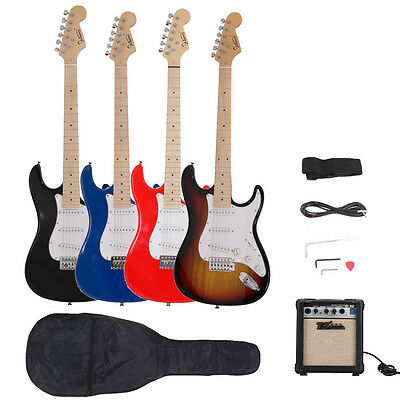 New 4 Colors Glarry ST Basswood Electric Guitar Set with Maple Fingerboard
