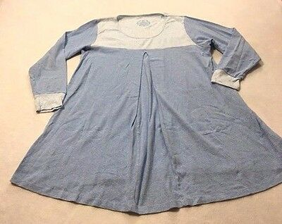 Sleep Walkers Womens XL Blue Gray Stripe Maternity Nursing Nightgown Pjs Pajamas