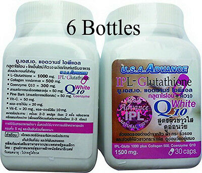 6X IPL Glutathione 1500 mg Whitening Collagen Q10 Vitamin C For Skin 30 Caps