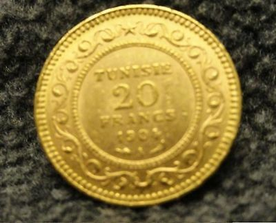 1904 A Tunisia 20 francs gold coin French Colonial Tunisie UNCIRCULATED