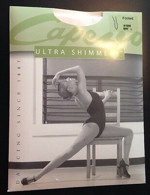 Capezio Ultra Shimmery Dance Tights footed 1808 BPK L PINK Brand New!