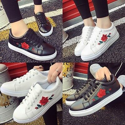 Fashion Women's Lace Up Running Embroidery Flower Sneakers Trainers Sports Shoes