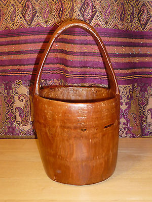 Antique Chinese Carved Solid Bamboo Handled Bucket Basket