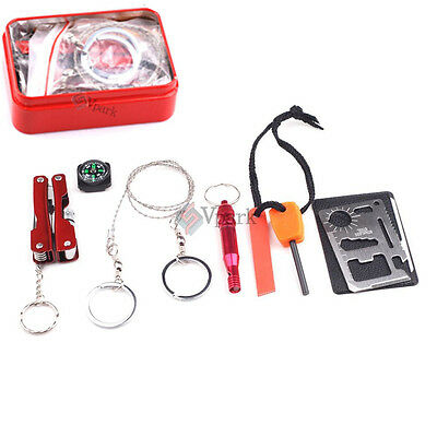 Outdoor Self Help Camping Hiking Sporting Survival Emergency Gear Tools Box Kit