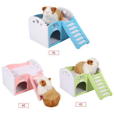 House Villa Cage Bed Nest Exercise Toy for Hamster Guinea Pig Wood Plastic Plate
