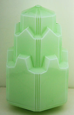 Art Deco Green Lamp Light Shade Manhattan Skyline for Diana & Bakelite Lamps #2