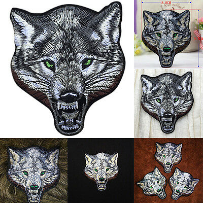 Animal wolf head iron on patches Sew-on embroidered patch motif applique LI