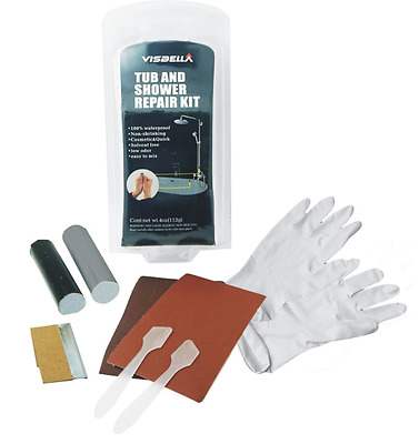 Shower and Bath Boat Fibre Glass Repair Kit Cracked Bath - black and white