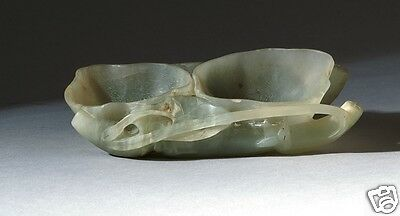 "Antique Estate pale green jade brush washer 19th Century.  Length 4.5"" (11.4CM)"