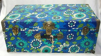 "Lg 30"" Long X 16"" Vintage 60's 70's Storage Trunk Flower Power Mod Retro W Keys"