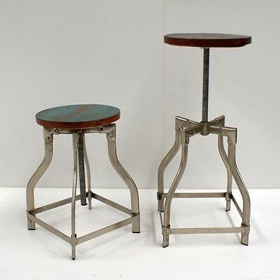 Industrial Stool Nickel Plated Steel And Wooden Seat (Adjustable Height)
