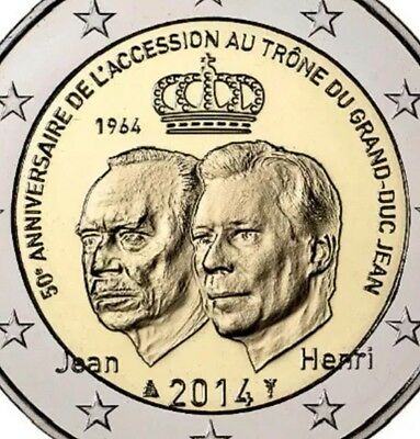 Luxembourg 2 Euro Commemorative Coin 2014 Acession GD Jean New Bunc From Roll