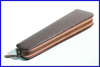 60er GOLDFINK Leder Etui Braun - 1 Füller o Bleistift / leather pouch for 1 pen
