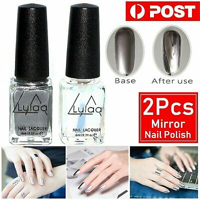 2pcs Mirror Chrome Nail Gel Polish coat Base Coat Gel Art Manicure Pretty Women
