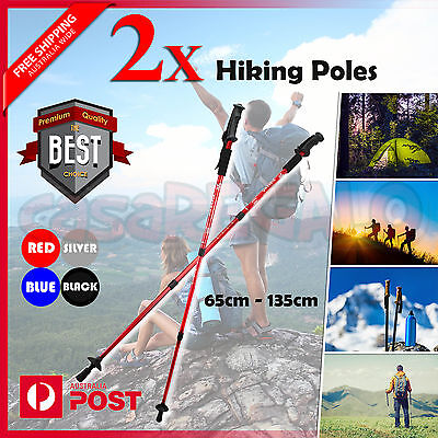 2x Hiking Trekking Poles Walking Stick Anti Shock Adjustable Camping Cane