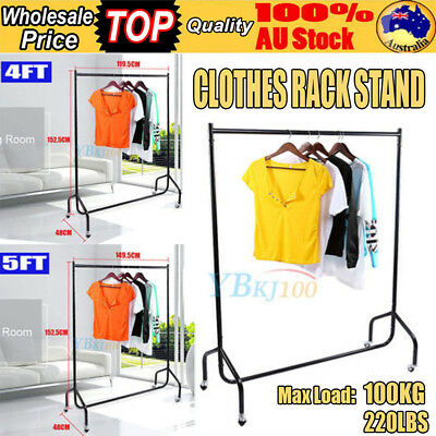 1/2 Rail Clothes Rack Garment Shop Display Rolling Portable  Hanger Dryer Stand