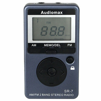 New Blue Pocket FM/AM Radio Mini Receiver with Rechargeable Battery+Earphone AU