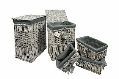 Set of 5 Wicker Rectangular Laundry Linen Basket & Storage Hamper Basket - Grey