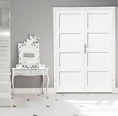 Internal White Pair - Shaker 4 Panel White Primed Engineered Veneer Double Doors