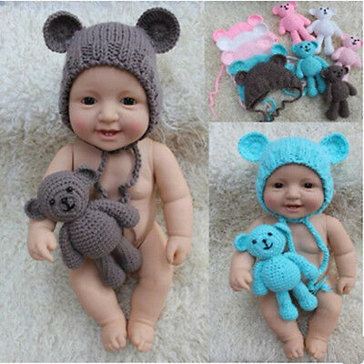 Hot 1 Set Cartoon   Bear and Hat  New Photography  Props  Newborn Handmade Cute